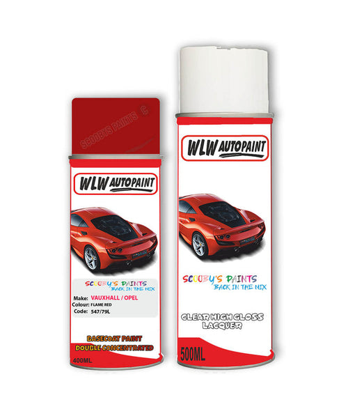 Vauxhall Nova Flame Red Aerosol Spray Car Paint + Clear Lacquer 547/79L/79U