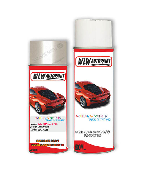 Vauxhall Ampera Lithiumweiss Aerosol Spray Car Paint + Clear Lacquer 800J/Gbn/
