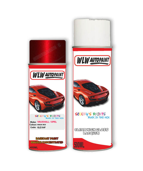 Vauxhall Astra Cabrio Magic Red Aerosol Spray Car Paint + Clear Lacquer Glz/50F/