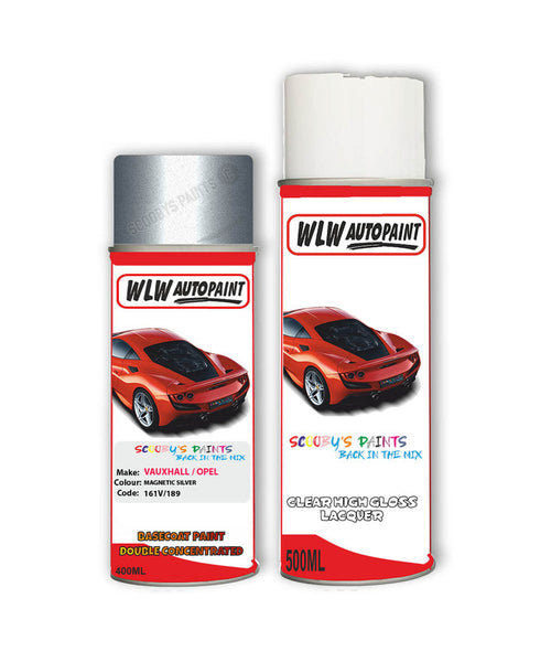 Vauxhall Crosscarline Magnetic Silver Aerosol Spray Car Paint + Clear Lacquer 161V/189/Gwd
