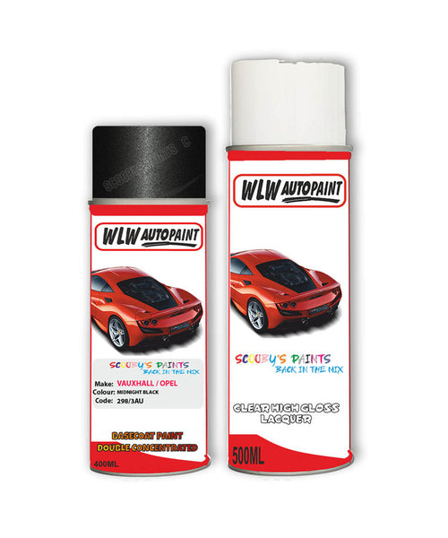 Vauxhall Frontera Midnight Black Aerosol Spray Car Paint + Clear Lacquer 298/3Au/83L