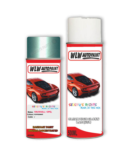 Vauxhall Adam Peppermint Aerosol Spray Car Paint + Clear Lacquer