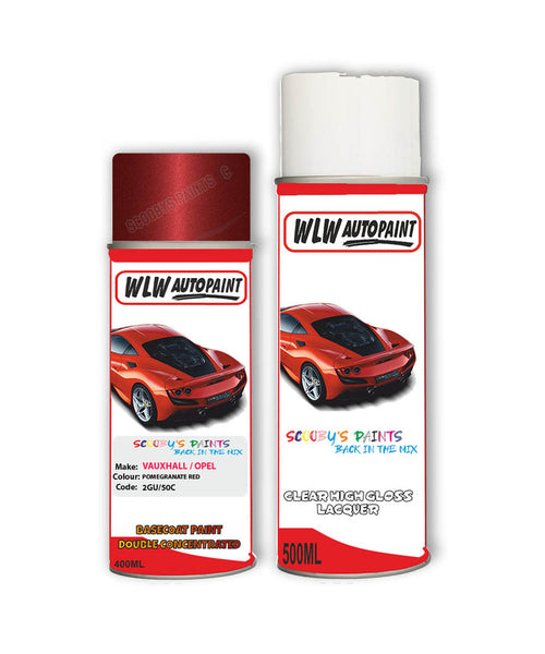 Vauxhall Vectra Pomegranate Red Aerosol Spray Car Paint + Clear Lacquer 2Gu/50C/Gbl