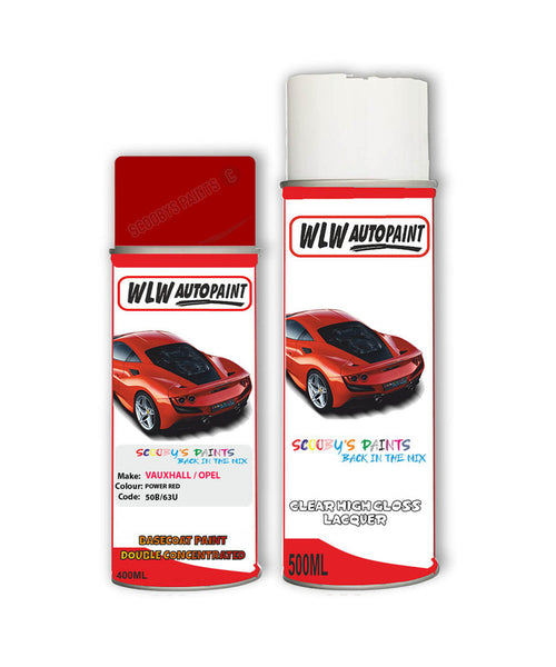 Vauxhall Astra Convertible Power Red Aerosol Spray Car Paint + Clear Lacquer 50B/63U/Gbh