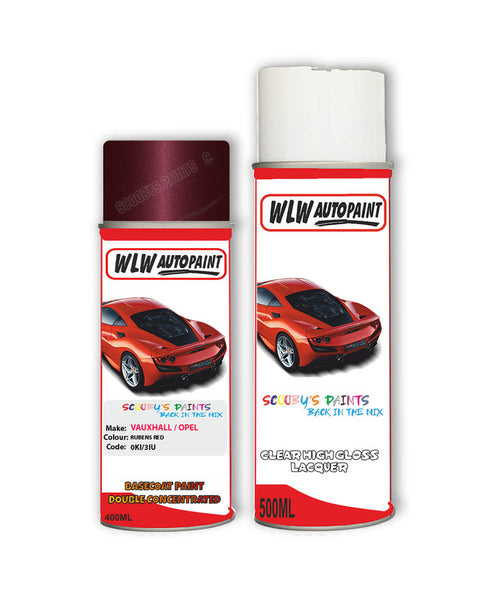 Vauxhall Meriva Rubens Red Aerosol Spray Car Paint + Clear Lacquer 0Ki/3Iu/594