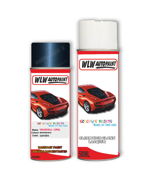 Vauxhall Meriva Waterworld Aerosol Spray Car Paint + Clear Lacquer 22A/Geu/