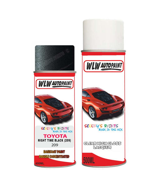 Toyota Yaris Verso Night Time Black 209 Aerosol Spray Paint Rattle Can
