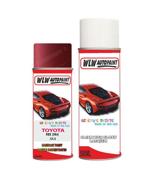 Toyota Paseo Red 3K4 Aerosol Spray Paint Rattle Can