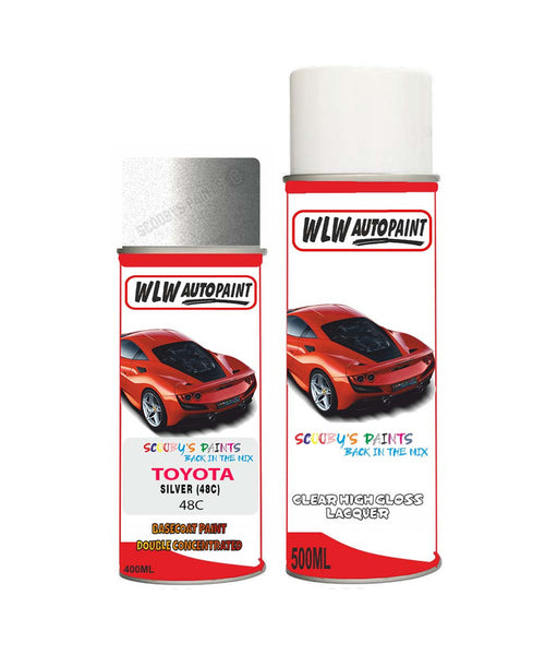 Toyota Verso Silver 48C Aerosol Spray Paint Rattle Can