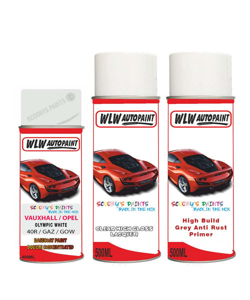 VAUXHALL AMPERA-E OLYMPIC WHITE Spray Paint + Anti Rust Primer Undercoat