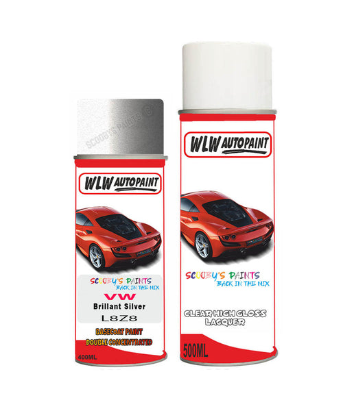 Volkswagen Polo Fun Brillant Silver Aerosol Spray Car Paint + Clear Lacquer L8Z8