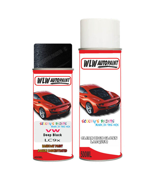 Volkswagen Polo Gti Deep Black Aerosol Spray Car Paint + Clear Lacquer Lc9X