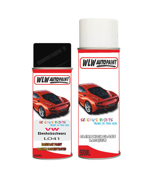 Volkswagen Polo Gti Ebenholzschwarz Black Aerosol Spray Car Paint + Clear Lacquer L041