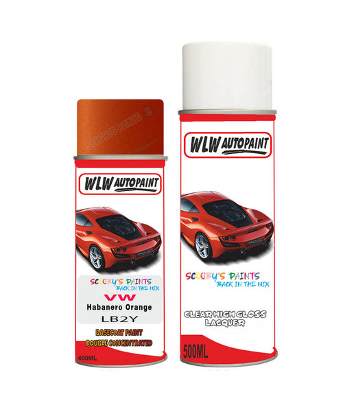 Volkswagen Jetta Gli Habanero Orange Aerosol Spray Car Paint + Clear Lacquer Lb2Y