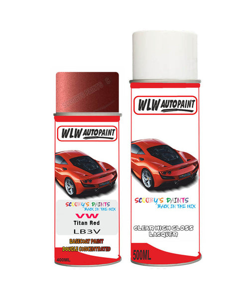 Volkswagen Fox Titan Red Aerosol Spray Car Paint + Clear Lacquer Lb3V