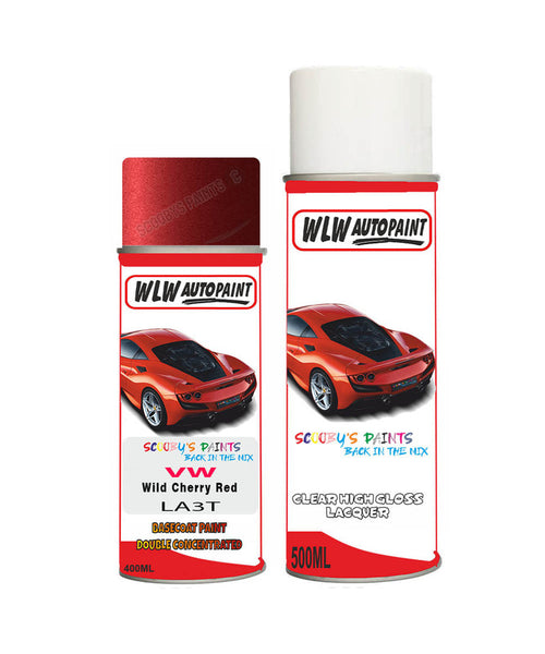 Volkswagen Polo Wild Cherry Red Aerosol Spray Car Paint + Clear Lacquer La3T