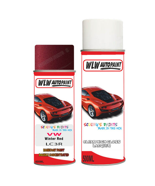 Volkswagen Beetle Winter Red Aerosol Spray Car Paint + Clear Lacquer Lc3R