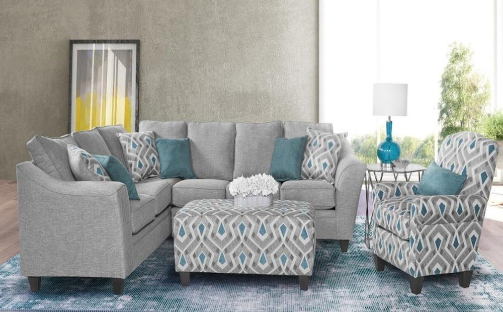 EXCELLENT in GREY FABRIC SECTIONAL SOFA SET AB 1010 (2pcs) - AllStarFurniture