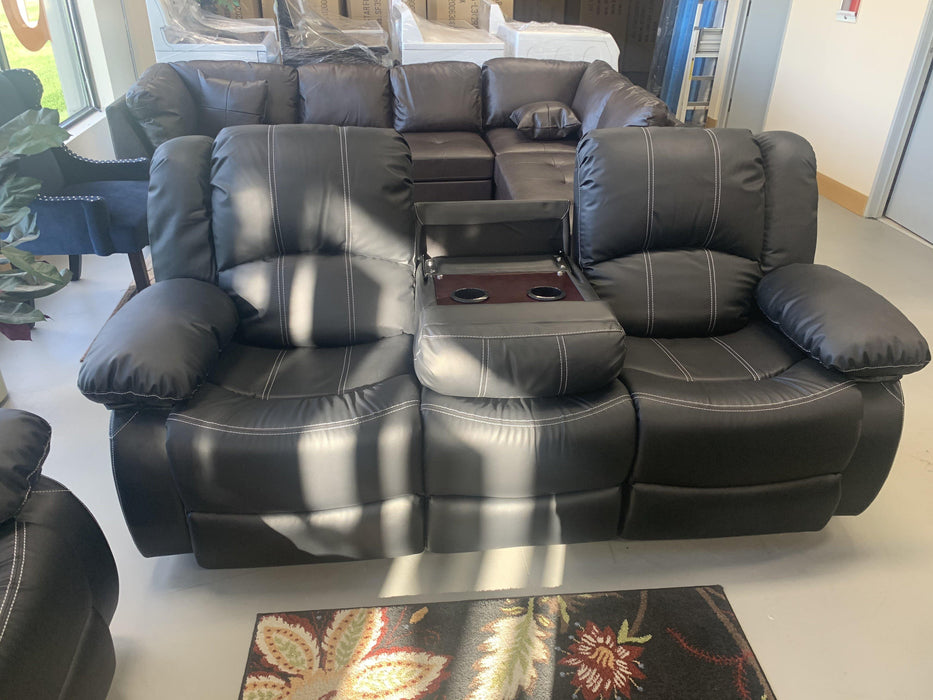 2 Pc Black Leather Sofa Set - AllStarFurniture