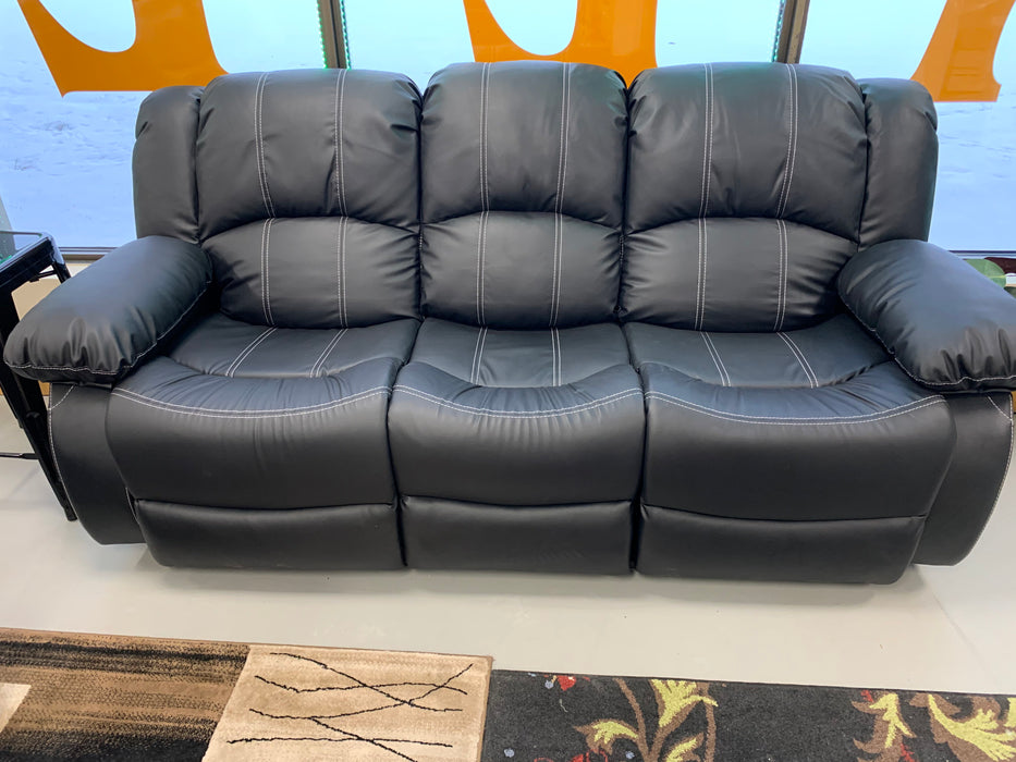 2 Pc Black Leather Sofa Set