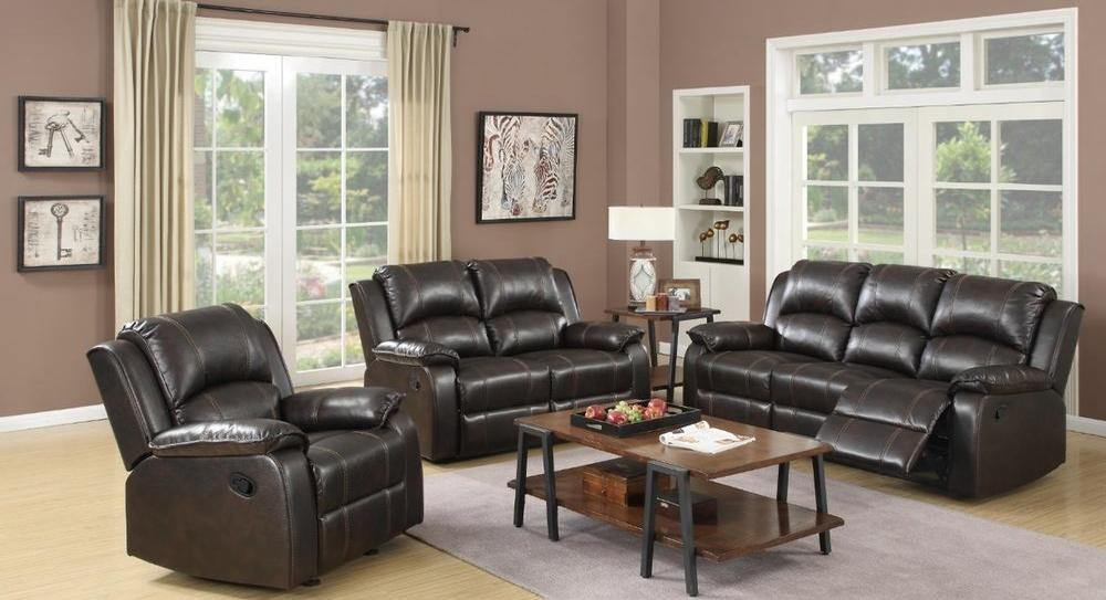 MUNICH LEATHER RECLINING 3 PC SOFA SET