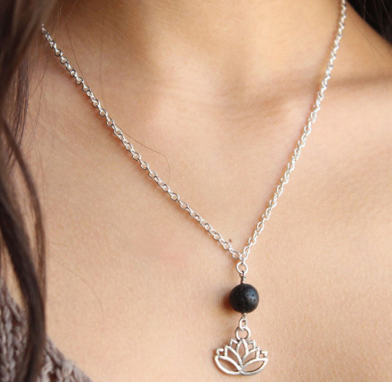 Lava Stone Lotus Necklace - Zest - for life