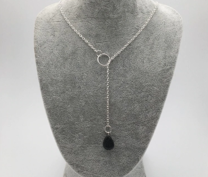 Lava Stone Droplet Necklace - Zest - for life