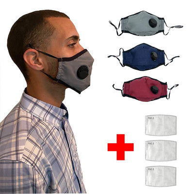3 Washable Respirator Face Mask
