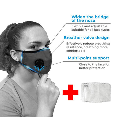 Washable Respirator Valve Face Mask