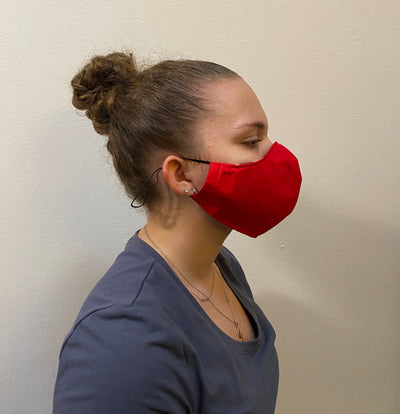 COTTON RED FACE MASK WITH FILTER POCKET WASHABLE
