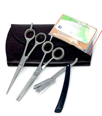 NEW * BARBER BASIC SHEAR STRAIGHT RAZOR SET IN CHROME 6.0 SUPERCUT STARTER***