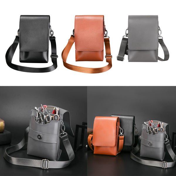 PU Leather Hair Scissor Bag Clips Bag Hairdressing Barber Scissor Holster Pouch Holder Case with Waist Shoulder Belt Brown
