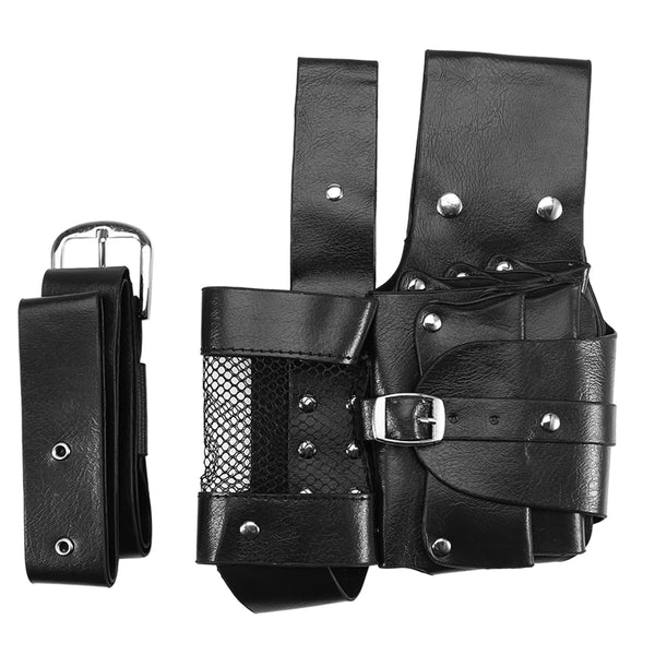 Leather Barber Scissor Storage Waist Bag Hairdressing Holster Pouch Holder Case Rivet Clips Bag With Belt Hair Scissor Bag