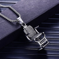 Stainless Steel Barber Chair Pendant Necklace Gold Barber Necklaces