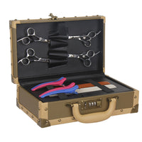 Vintage Rivert PU Leather Hairdressing Toolkit Case Salon Barber Scissors Trimmers Comb Storage Suitcase Bag Styling Tools UN768