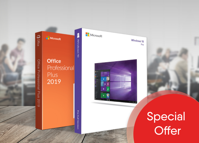 Windows 10 Pro USB + Office Professional Plus 2019 USB (Value Package)