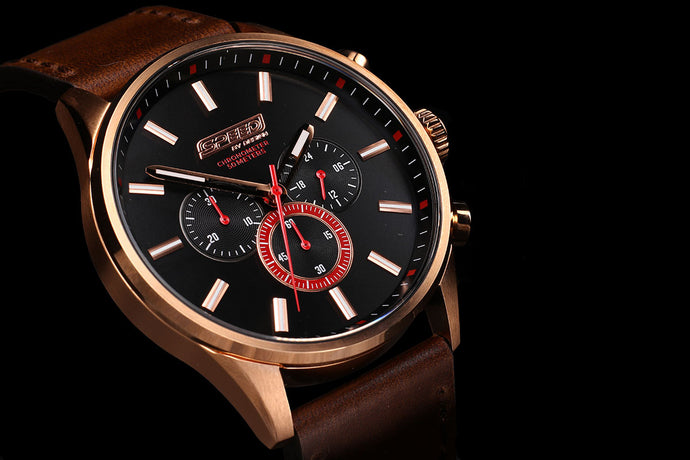 Rose Gold Brown Leather Chrono - 45mm