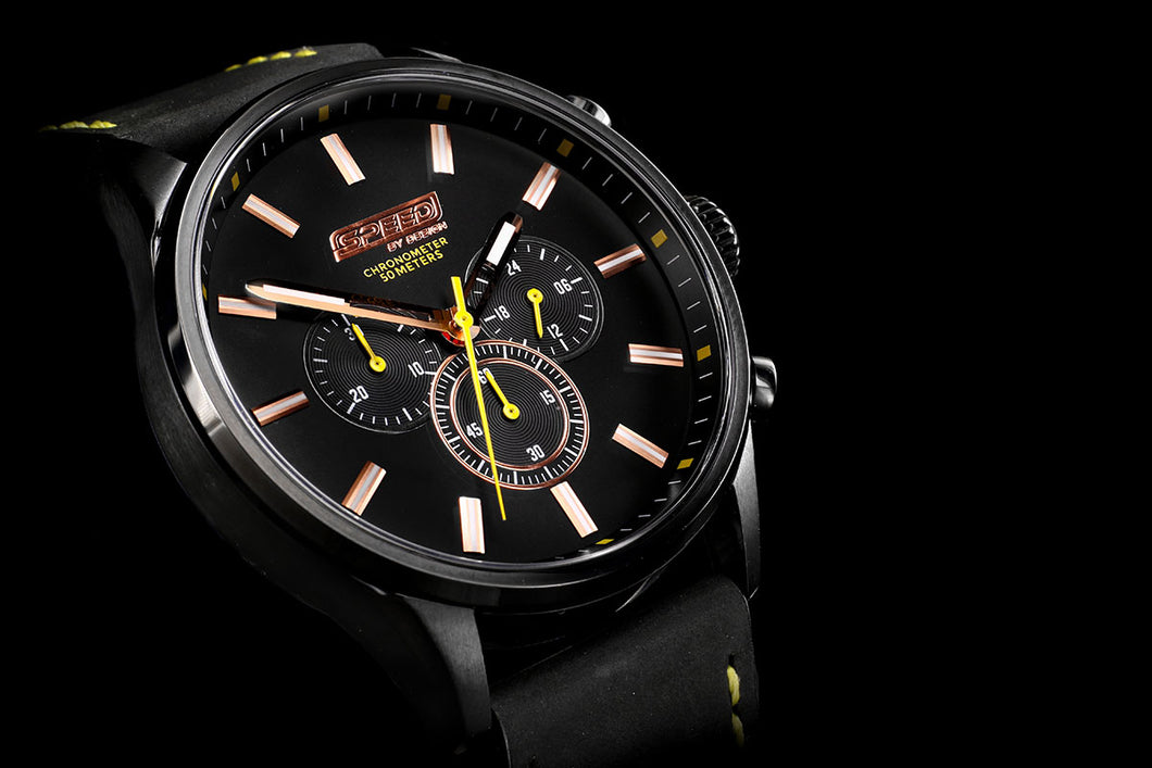 Black Yellow Leather Chrono - 45mm
