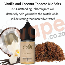 Load image into Gallery viewer, Cloud Flavour Labs - Leaf tobacco - Vanilla and Coconut 0mg - 12mg (60ml/30ml)