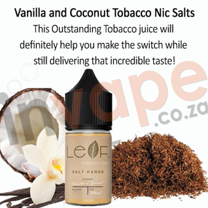 Cloud Flavour Labs - Leaf tobacco - Vanilla and Coconut 0mg - 12mg (60ml/30ml)