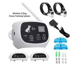 Wireless Electric Portable Dog Fence & Training System with Adjustable Collars for 1/2/3 Dogs - Common Panda