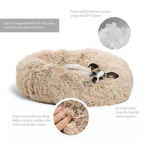 "Calming Shag Vegan Fur Donut Cuddler - 23""x23"" - Common Panda"