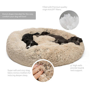 "Calming Shag Vegan Fur Donut Cuddler - 45""x45"" - Common Panda"