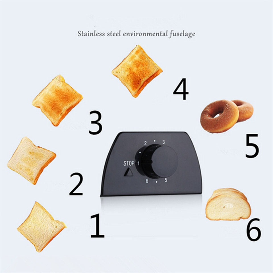 750W 2 Slices Slots Stainless Steel Automatic Electric Bread Toaster Mini Household Breakfast Baking Bread Machine Kitchen Tool - Common Panda