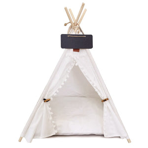 Pet Teepee Dog & Cat Bed White Canvas Dog Cute House - Portable Washable Dog Tents for Dog(Puppy) & Cat Pet (with Cushion) - Common Panda