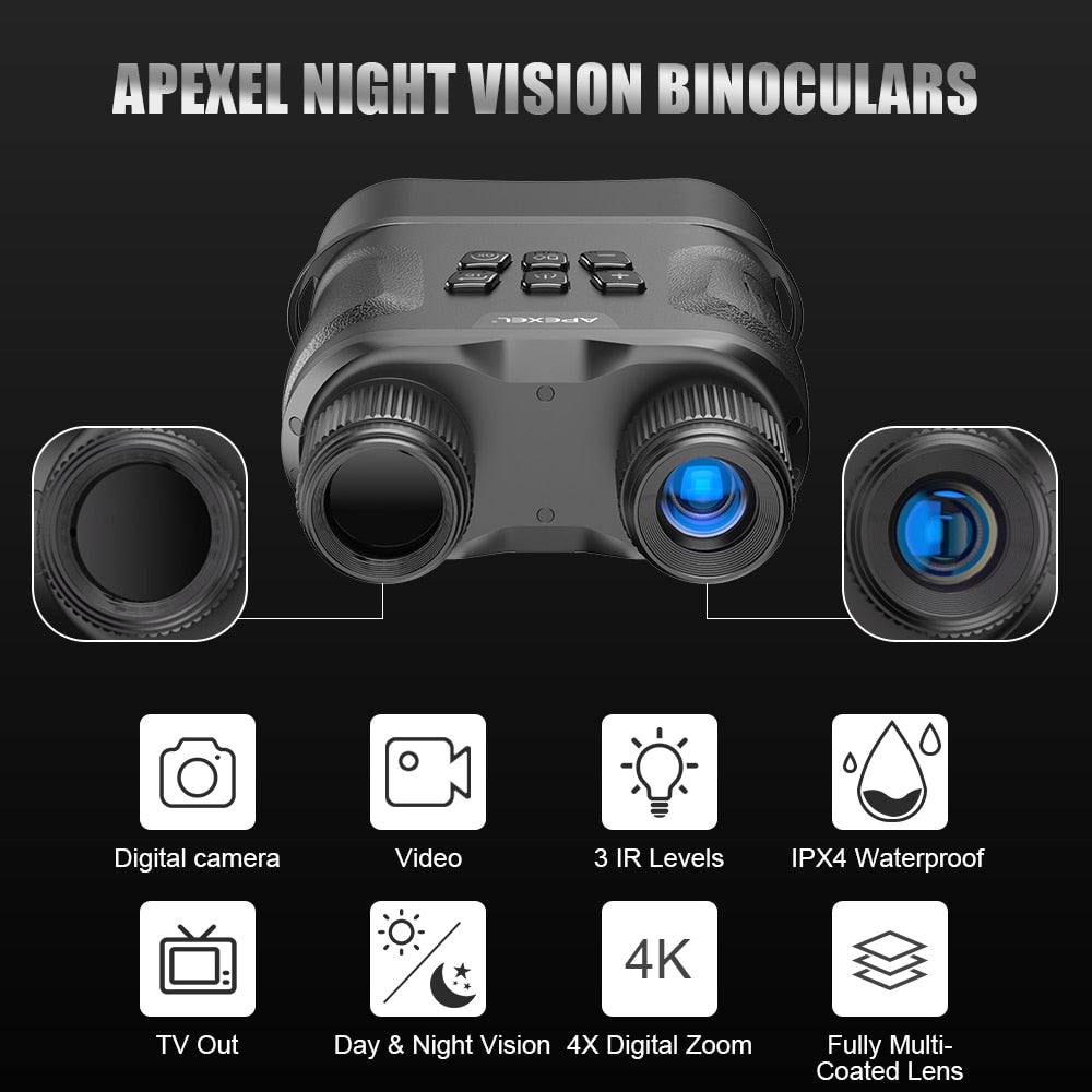 APEXEL Night Vision Binoculars Digital IR Telescope Zoom Optics HD Infrared Day And Night Vision For Hunting Video Recording