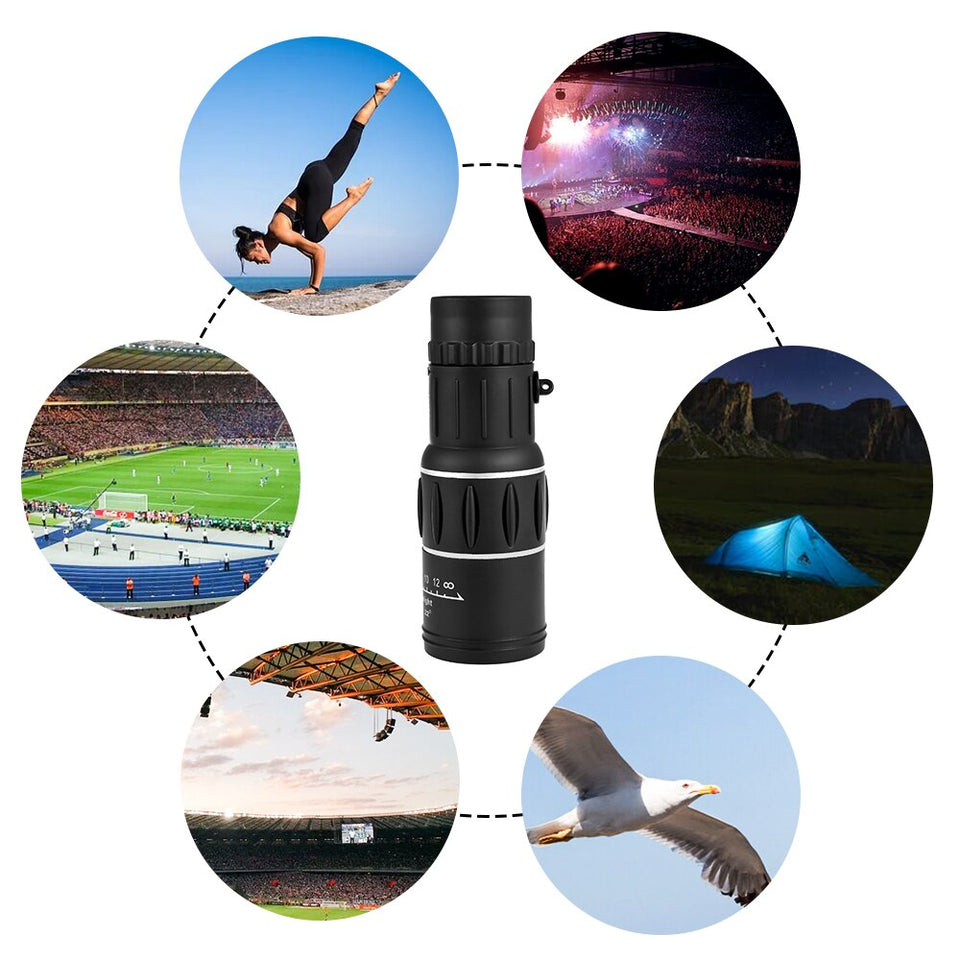 Vastar Portable 16 X 52 Telescope Monocular High Power HD Binoculars Theatrical Eyepiece For Hunting Camping Rifle day and night - Common Panda