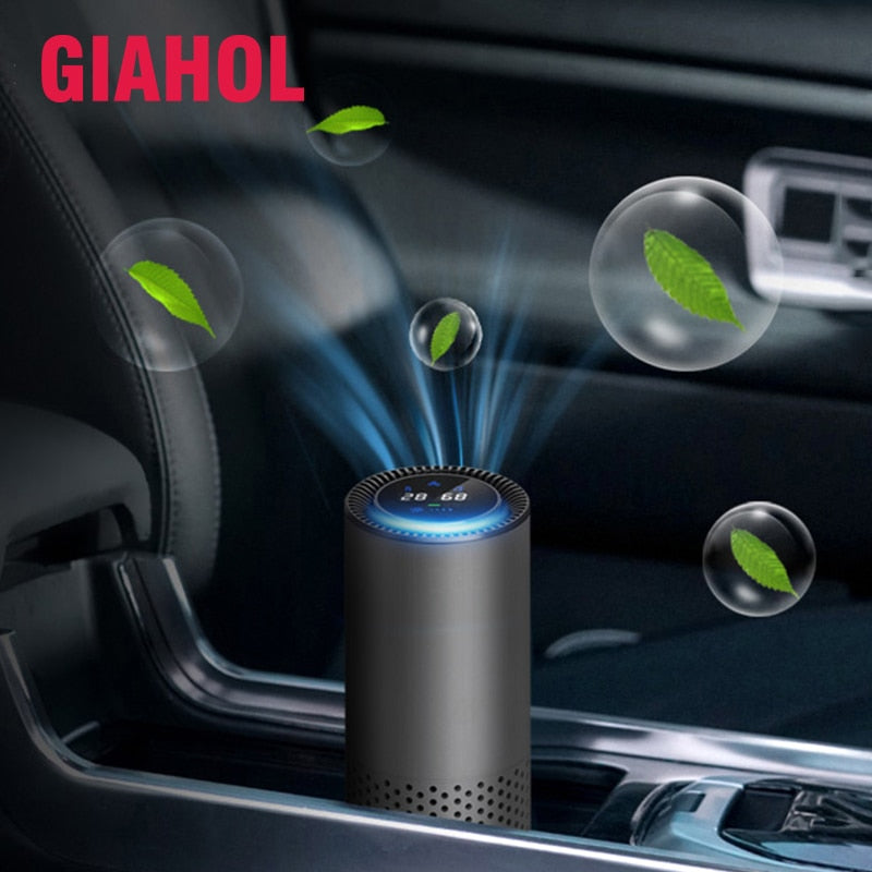 GIAHOL Digital Display HEPA Filter Air Purifier Gesture Control Air Cleaner Portable Anion Purifier for Car Home Office - Common Panda