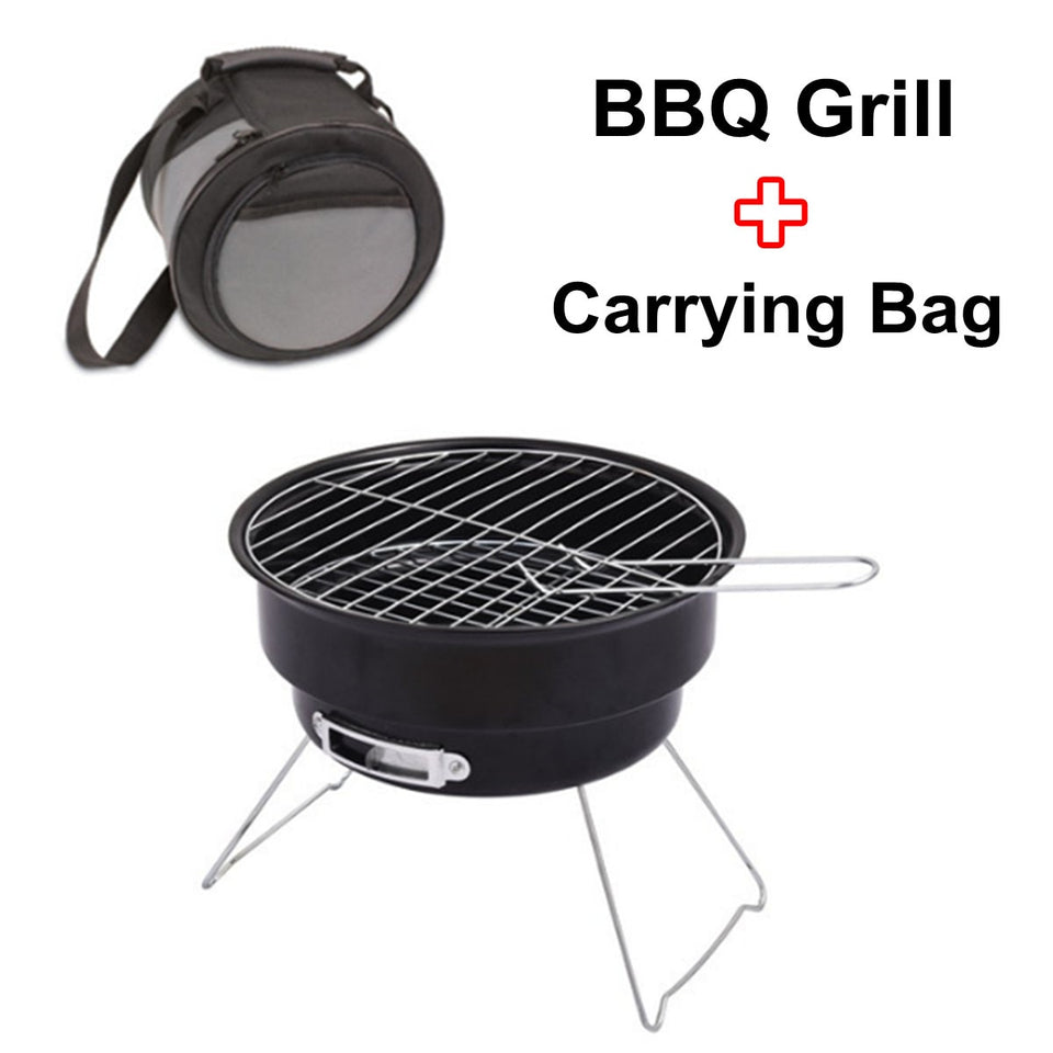 Foldable Charcoal BBQ Grill Mini BBQ Grill Tabletop Portable Outdoor Travel Patio Stove Cookware Barbecue With Carrying Bag - Common Panda