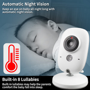 3.2 inch Wireless Video Color Smart Baby Monitor Ideal For New Moms With Night Vision Temperature Monitoring - Common Panda